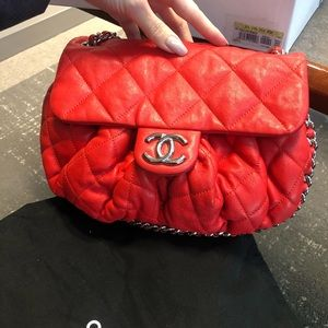Chanel Red Bag chain around